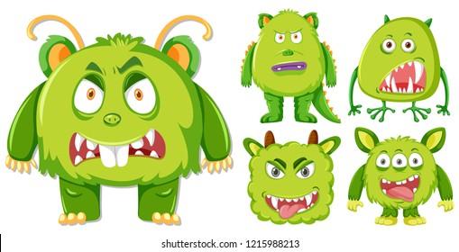 Set of green monster character illustration