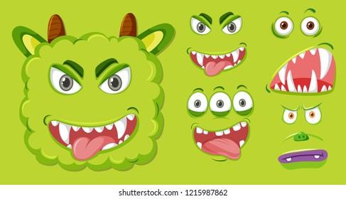 Set of green monster facial expression illustration