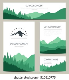 Set of green mountains and forest backgrounds. Vector templates design for business cards, greeting, prints, web design, invitation and banners. Set of stylish cards in outdoor style.