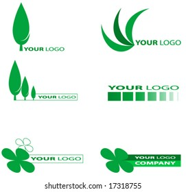 Set of green nature or ecology logos.Vector.