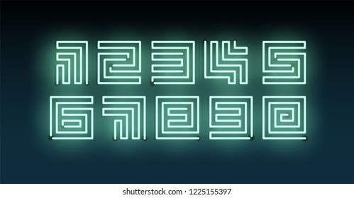 Set of Green Neon numbers. Vector maze light symbols on dark blue background. Vectors.
