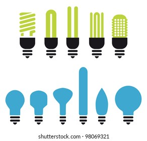 set of green an no saving bulbs silhouettes