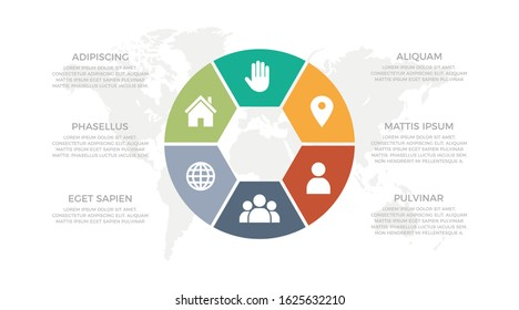 Set of green, orange, red, gray and turquoise elements for infographic with world map presentation slides.