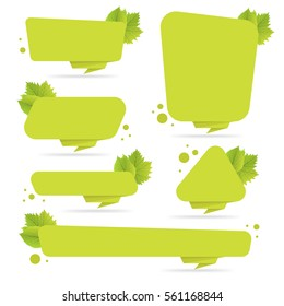 Set of green paper origami banners with leaves. Template for bio products, sales, web sites and labels. Place for text vector illustration.