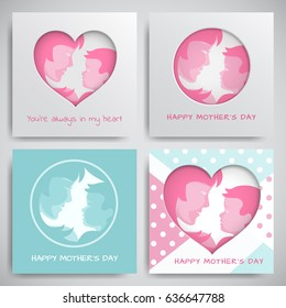 Set of green and pink greeting cards for mothers day. Women and baby silhouettes, congratulation text, cuted heart on dotted background, paper cut art style. Vector illustration, layers are isolated