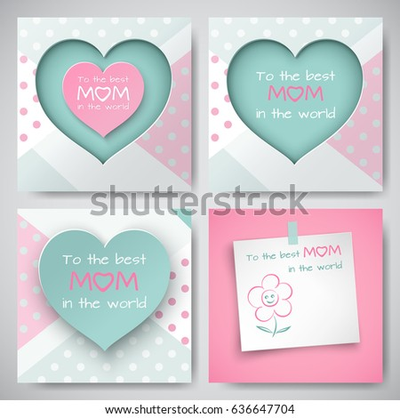 Set Of Green And Pink Greeting Cards For Mothers Day Sheet Paper With Congratulation