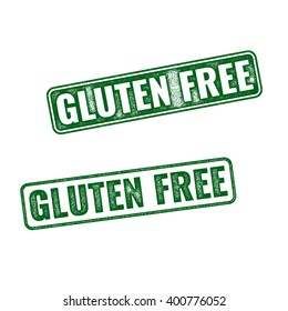 Set of green realistic vector Gluten Free grunge rubber stamp isolated on white background.
