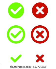 Set of green and red check mark icons tick and X flat design vector illustration on white background