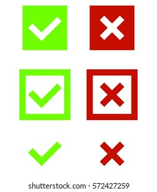 Set of green and red check mark icons tick and X in squares flat design vector illustration on white background