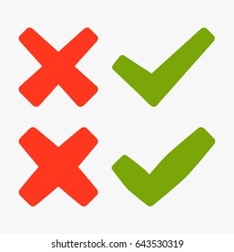 Set of green and red cross and hook - vector