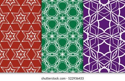 set of green, red, purple color floral ornament. modern pattern. seamless vector illustration. for interior design, textile, wallpaper