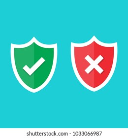 Set of green and red shield with checkmark and cross mark. Sign of protection, safety and unsafe, security and insecurity and reliability. Modern flat design elements. Vector illustration icons.