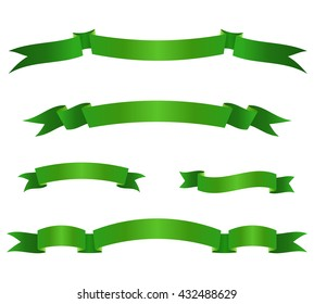 Set of green ribbon banners. Collection of scroll elements. Vector illustration.