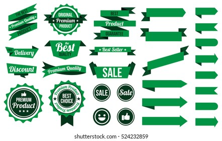 set of green ribbons , badges and labels. flat design concept. branding and sale decoration. vector illustration. isolated on white background.