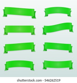 Set of green ribbons on a light background