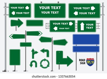 Set of green road signs isolated, for brochure, flyer, cover book and other printing design. eps 10 vector