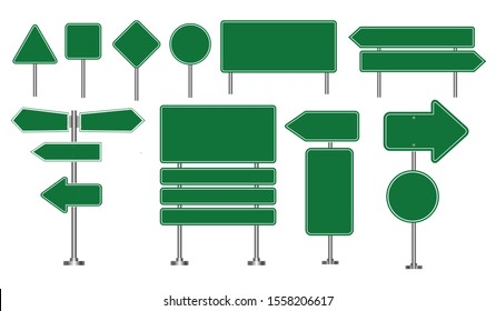 Set of green road signs isolated, for brochure, flyer, cover book and other printing design. easy to modify