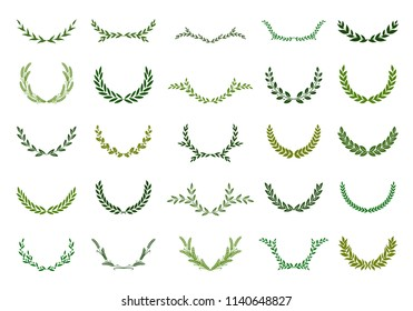 Set of green silhouette laurel foliate wreaths depicting an award, achievement, heraldry, nobility. Vector illustration.