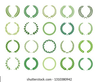 Set of green silhouette laurel foliate, wheat, oak and olive wreaths depicting an award, achievement, heraldry, nobility. Vector illustration.
