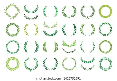 Set of green silhouette laurel foliate, wheat and olive wreaths depicting an award, achievement, heraldry, nobility. Vector illustration.