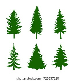 Set of Green Silhouettes of Pine Trees on White Background Vector illustration