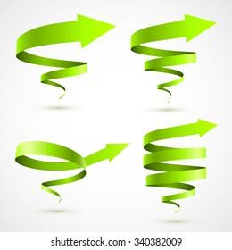 Set of green spiral arrows 3D.