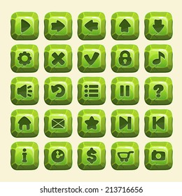 Set of green stone buttons, vector game icons