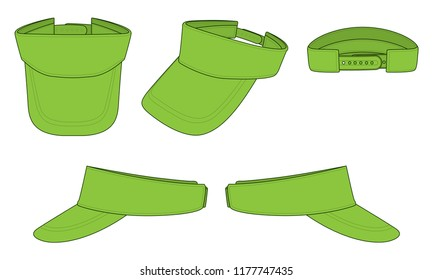 Set Green Sun Visor Cap for Template