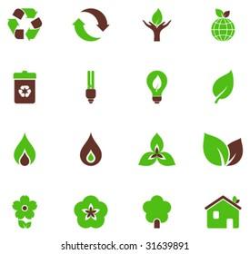 Set of green symbols.