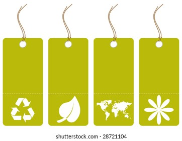 set of green tags with eco symbols - vector image