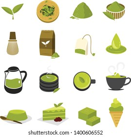 set of green tea matcha icon.vector and illustration.