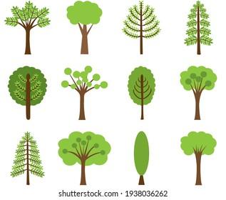 Set of green tree vector illustration