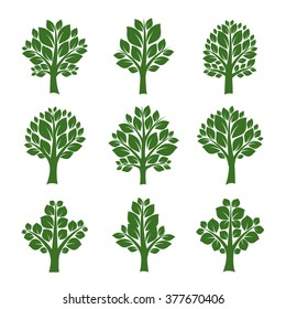 Set of Green Trees and Leafs. Vector Illustration.