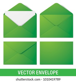 Set of green vector envelopes in different views, isolated on a white background. Realistic green vector envelope mockups.