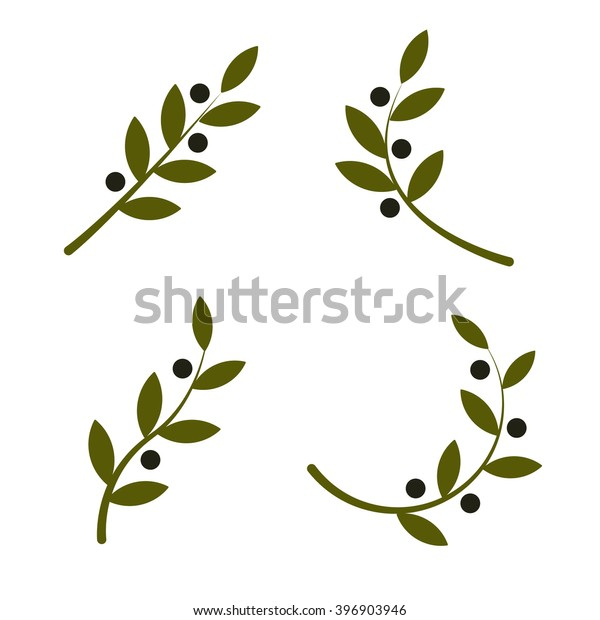 Set of green vector olive branch logo. Olives oil sign. Symbol of peace. Greek religious sign. Mythological icon.Healthy products label. Organic cosmetics. Eco food. Natural element. Agricultural item