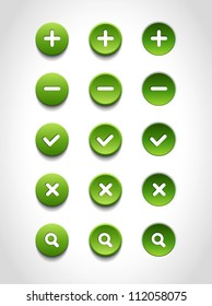 A set of green vector round web buttons