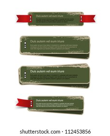 A set of green vector vintage cardboard military style badges / banners with metallic staples and grungy distressed paint texture, decorated with red ribbon tags