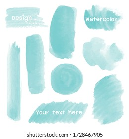Set Green of watercolor stain for design.  Watercolor texture with brush strokes.