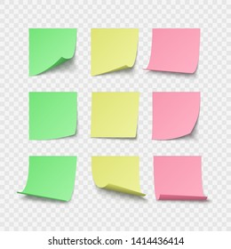 Set of green yellow and red pin stickers with space for text or message. Vector illustration isolated on transparent background