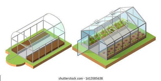 Set greenhouse for growing vegetables. Isometric icon 3d illustration. Isolated on white vector