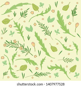 A set of greens and herbs for food.  Including arugula, basil, rosemary.  Pattern on yellow-green for decoration, scrapbooking and kitchen design