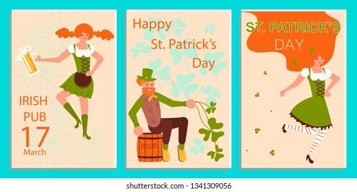 41ce0cee565 Flat Art Vector illustration. Set of greeting banners of Saint Patricks  Day. Cute cartoon leprechauns holding mugs of beer