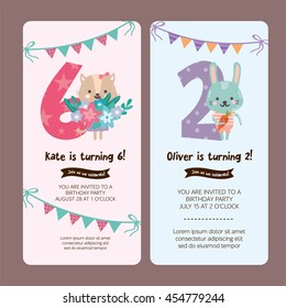 6 Year Old Child Group Children Asian Set Of Greeting Card Design With Cute Cat And Rabbit Happy Birthday Invitation Template For