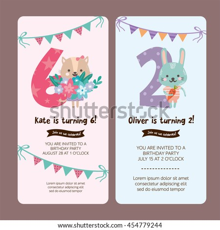 Set Of Greeting Card Design With Cute Cat And Rabbit Happy Birthday Invitation Template For