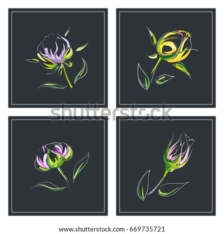 Set greeting card different types handdrawn stock vector royalty set of greeting card with different types hand drawn outline bright beautiful elegant flowers bud m4hsunfo