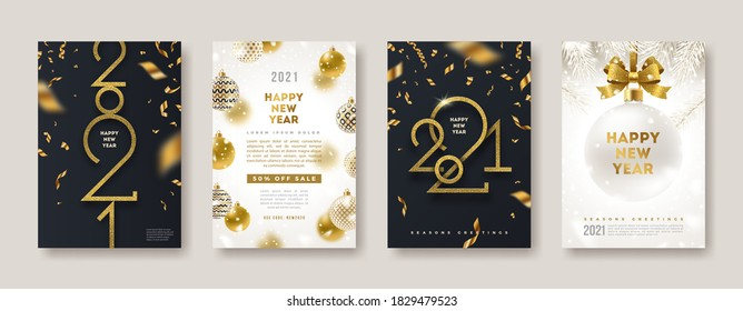 Set of greeting card with golden 2021 New Year logo. New year glitter gold sign, Vector illustration. Holiday design for greeting card, invitation, cover, calendar, etc.