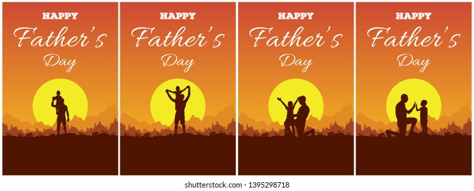 Set of greeting card with lettering Happy Father's Day and silhouette of father and son on background of adventure landscape with mountains, forest, sun and sky. Dad and child in nature at sunset.