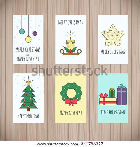 set greeting card templates christmas design stock vector royalty