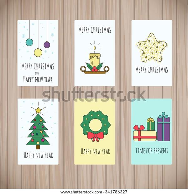 Set Greeting Card Templates Christmas Design Stock Vector