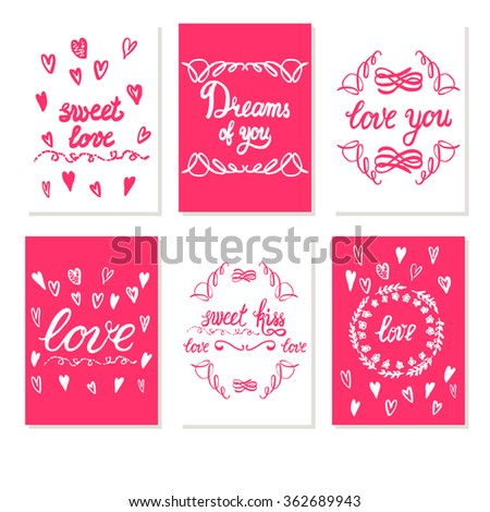 Set greeting card valentines day white stock vector royalty free set greeting card valentines day white and red color sweet love dreams of m4hsunfo